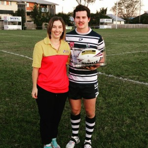BROTHERS JUNIORS RUGBY LEAGUE CLUB – CLUB PHYSIOTHERAPIST BOBBIE-JO STRONG AND 400 GAME CLUB STALWART BEN MUNRO