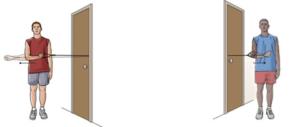 Two cartoon men next to doors wearing shorts