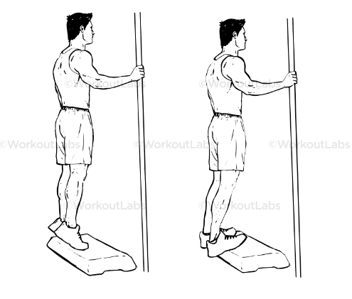 calf strengthening exercise over a step diagram