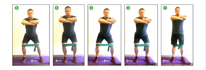 crab walking with resistance bands exercise demonstration