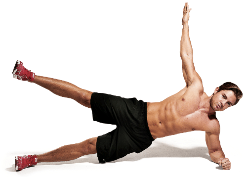 Exercise at home: Man performing core exercises