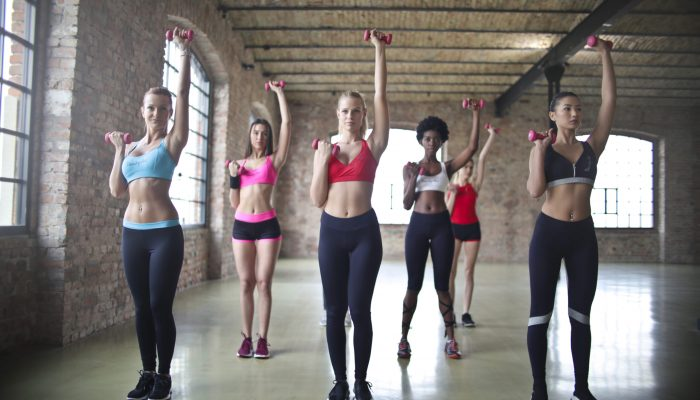 Get into a group and exercise image of women with dumb bells| Featured Image for Exercise physiologists | Landing page
