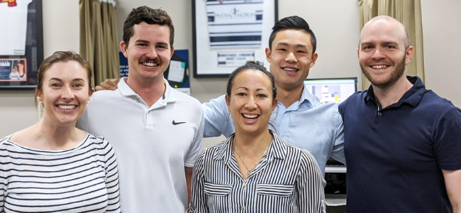 Photo of five members Pivotal Motion team | Featured Image for Exercise physiologists | Landing page